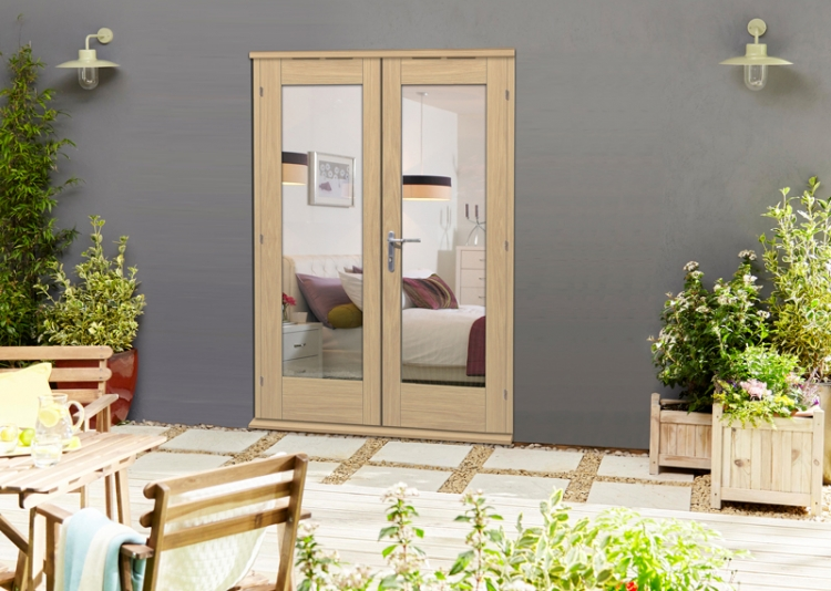 1500mm 5ft french doors elite oak un finished french