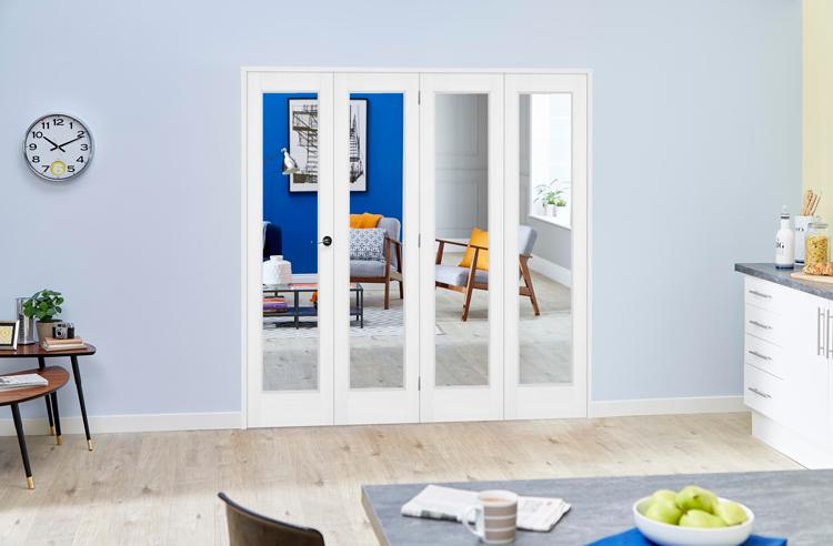 1753 X 2078mm Slimline White P10 Roomfold Deluxe ( 4 X 419mm Doors ...