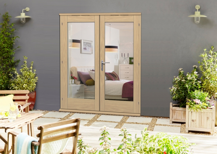 54mm oak un finished external french patio doors elite for 6 ft french patio doors