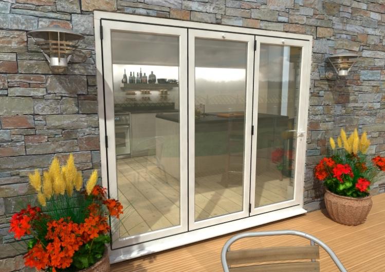 2400mm 8ft 3 Door Climadoor White Aluminium Bi Folding Patio Doors