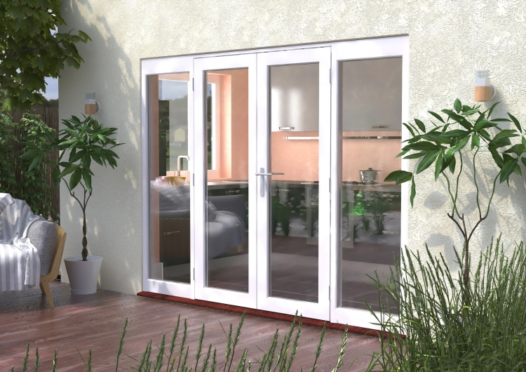 2700mm Classic White Wooden French Doors With Sidelights