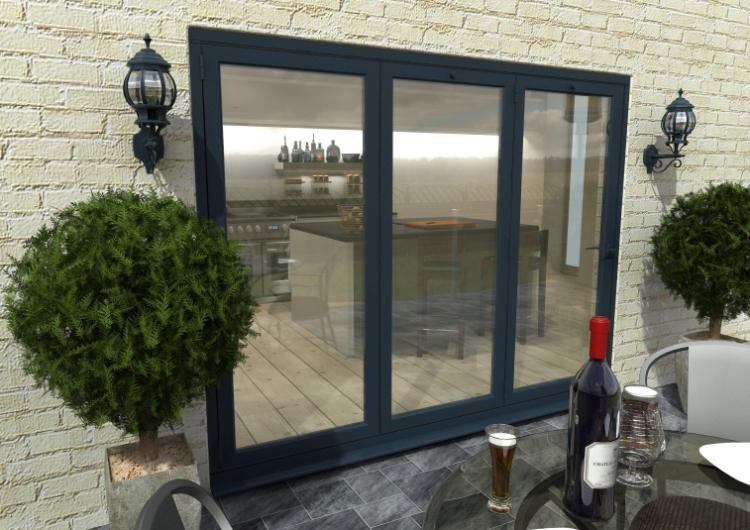 2700mm 9ft 3 Door Climadoor Grey Aluminium Bi Folding Patio Doors