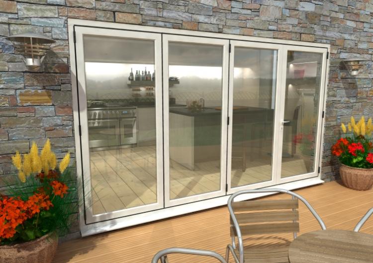 3600mm 12ft 4 door 3 1 climadoor white for Patio outside bifold doors