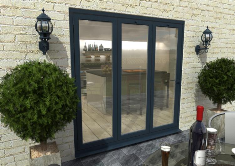 2100mm 7ft 3 Door Climadoor Grey Aluminium Bi Folding