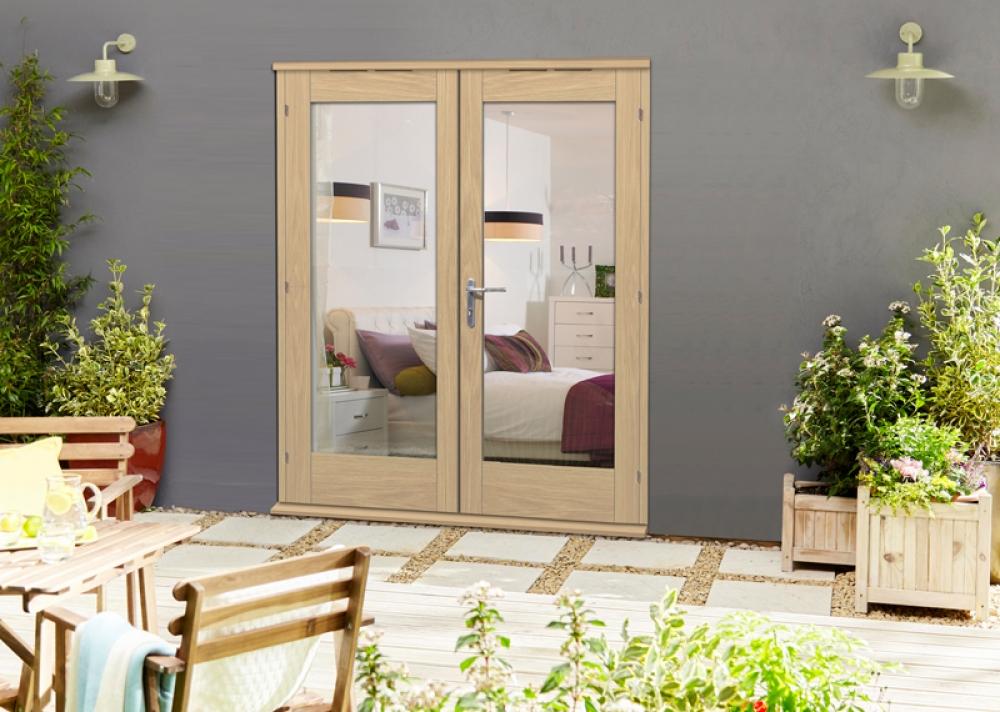 Elite 54mm oak french doors oak patio doors vibrant doors for Narrow external door