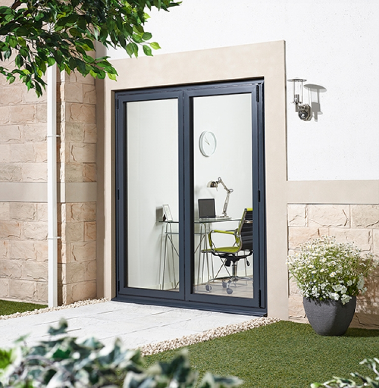 Aluvu grey bifolding patio door aluminium external 70mm for 1800mm french doors