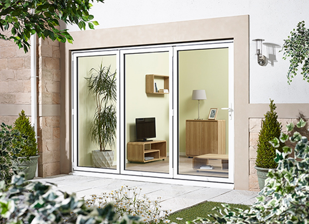 Aluminium bifold doors external back doors in white for External patio doors