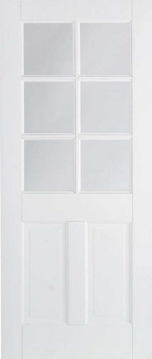 Canterbury 2P 6L Glazed White Door