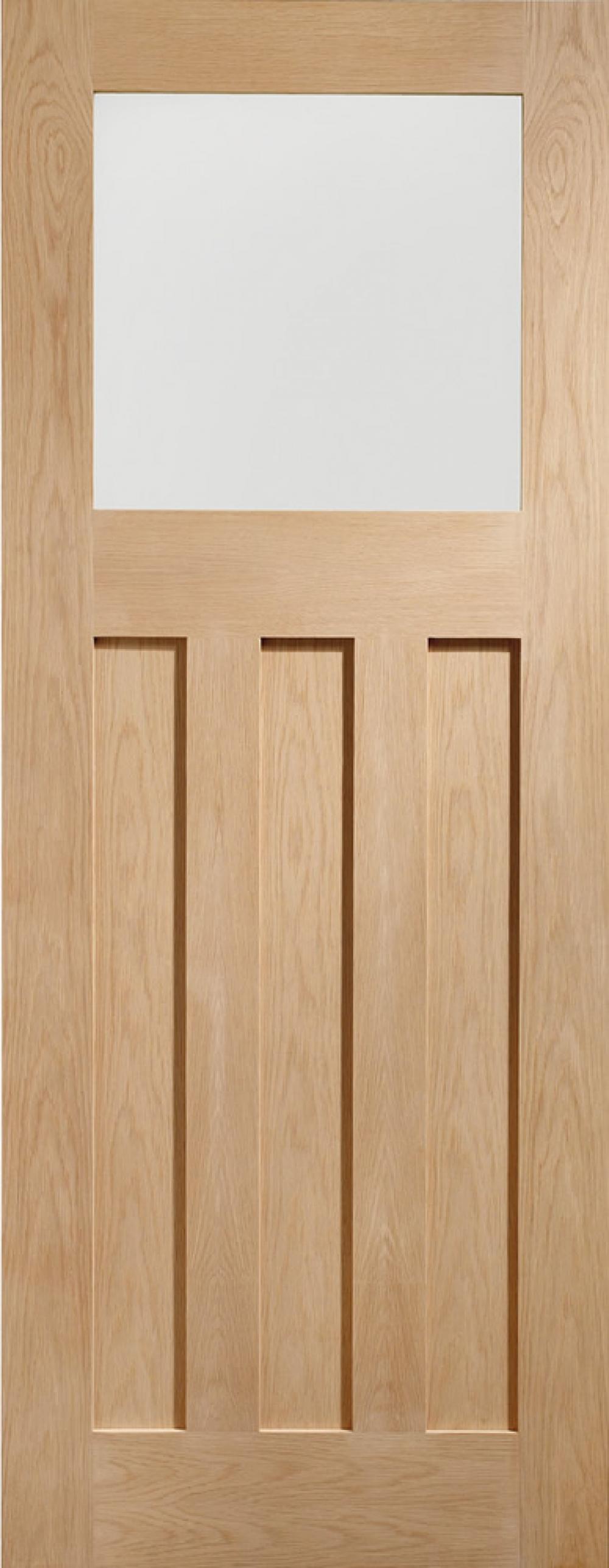DX Oak Glazed Door - Obscure PREFINISHED