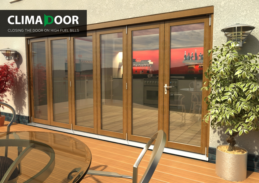 Elite Oak Folding Doors - CLIMADOOR: 54mm fully finished folding sliding doorset Image
