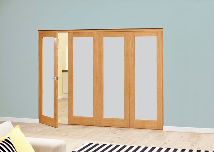 new styles 2fc9c 299a3 Frosted Glazed Oak - 4 Door Roomfold Deluxe (4 X 2