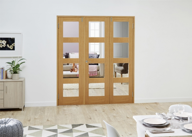 1800x2031mm glazed oak prefinished 3 door shaker 4l for 1800mm french doors