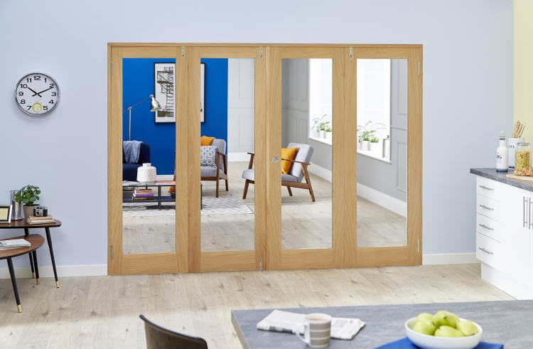 2216x2031mm Glazed Oak Prefinished 4 Door Shaker Frenchfold 4 X