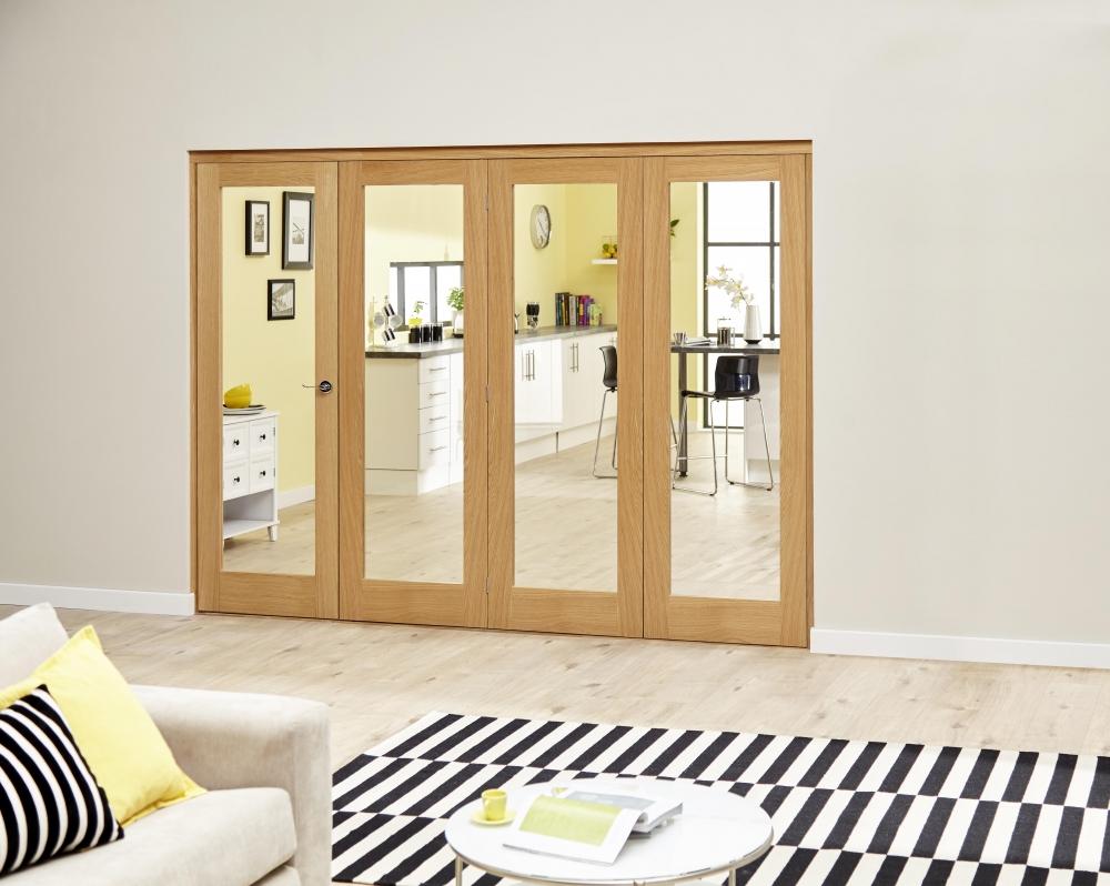 Glazed oak roomfold deluxe internal bifold doors for Internal folding glass doors
