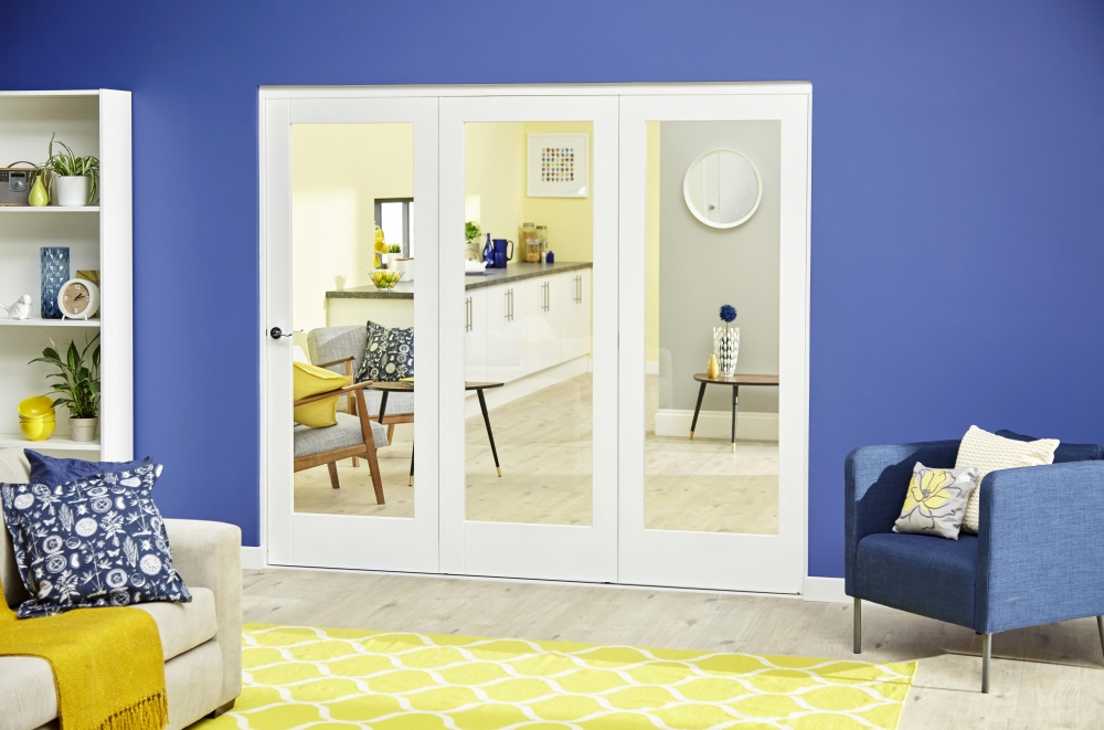 White Glazed Internal Bifold Doors, Roomfold Deluxe By CLIMADOOR