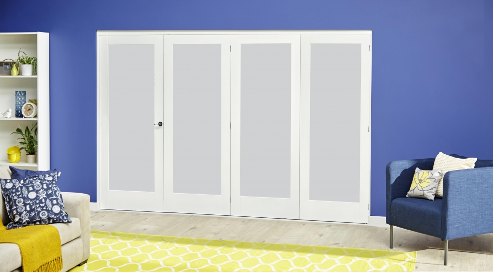 Glazed White Roomfold Deluxe Bifold Door System With Frosted Glass