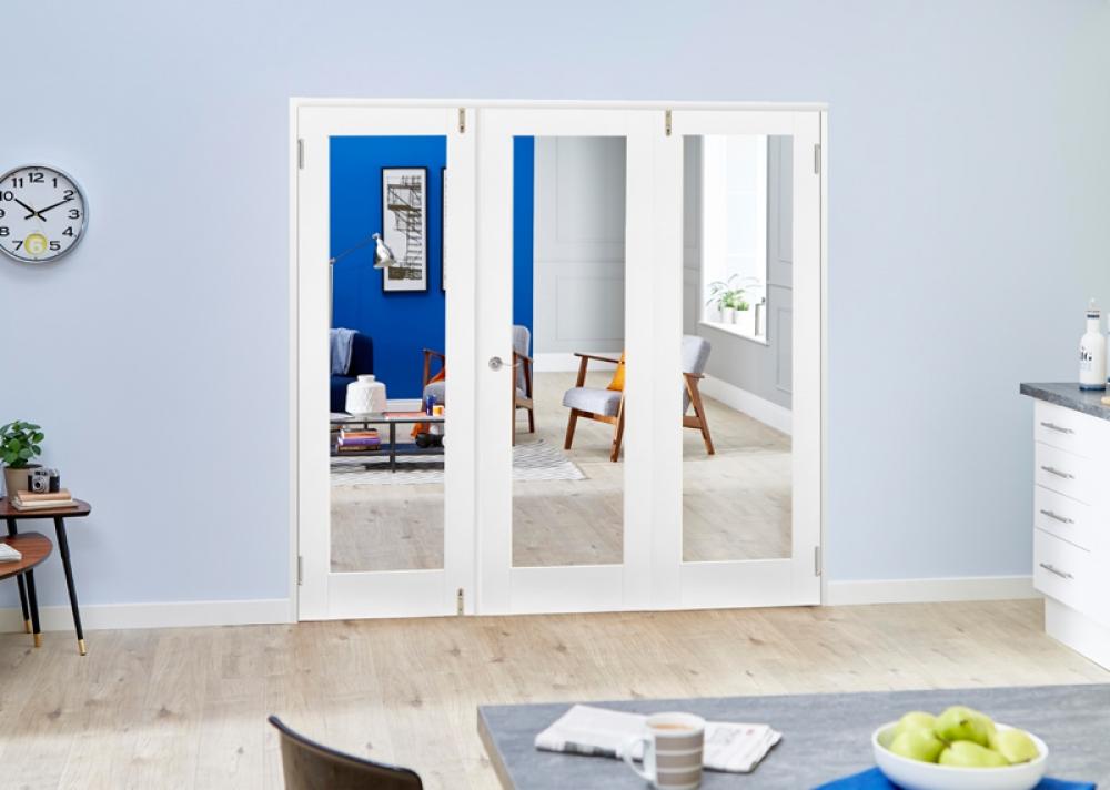 Glazed white shaker frenchfold room divider vibrant doors for 1800mm french doors