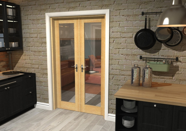1136x2031 Glazed Oak Internal French Doors With Frame Set