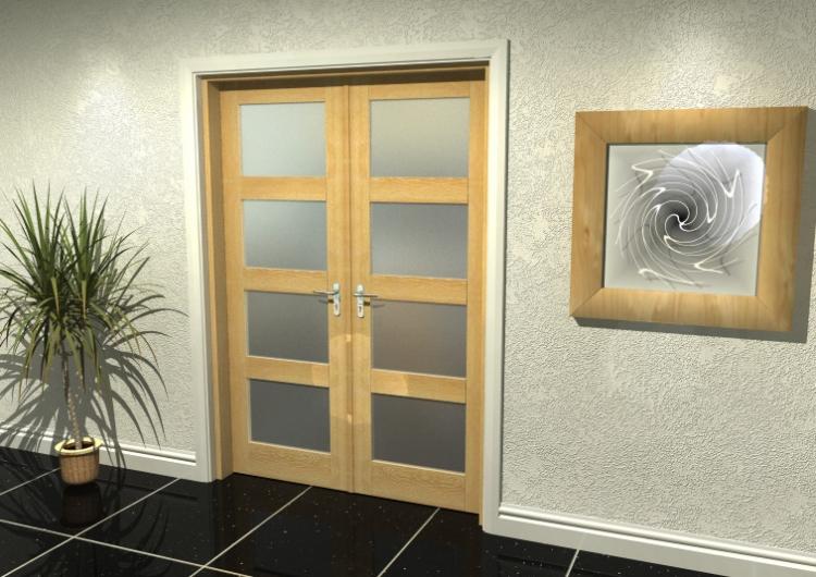 1290x2031 Glazed Oak Internal French Doors With Frame Set