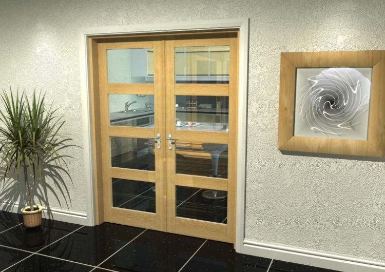 1594x2031 Glazed Oak Internal French Doors With Frame Set