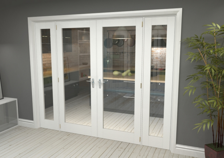 2396x2031 Glazed White Primed Internal French Doors With Frame Set