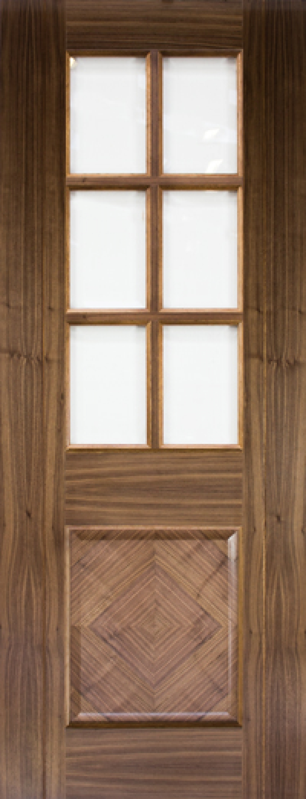 Kensington Walnut Glazed Door - Prefinished