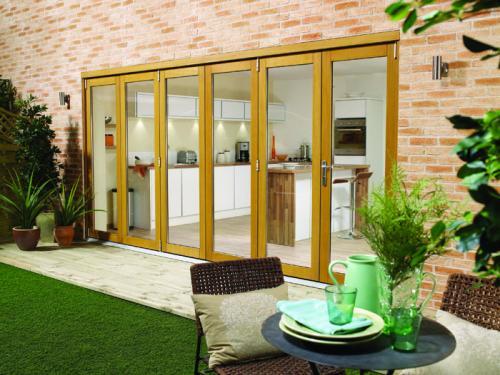 Folding Patio Doors : Lpd nuvu oak veneer wooden bifolding patio doors