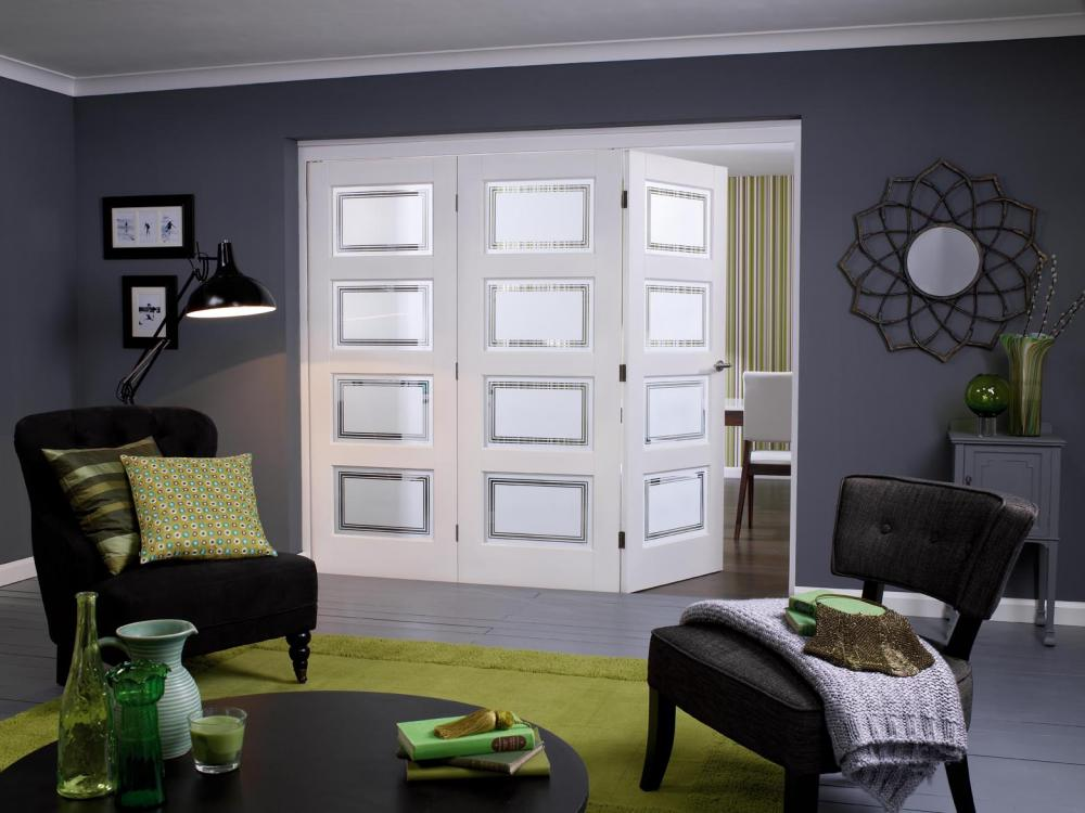 Nuvu solid white primed contemporary 4 lite internal for Internal folding doors systems