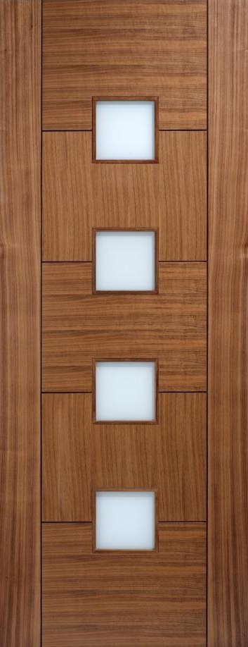 Quebec Glazed Walnut Prefinished Door