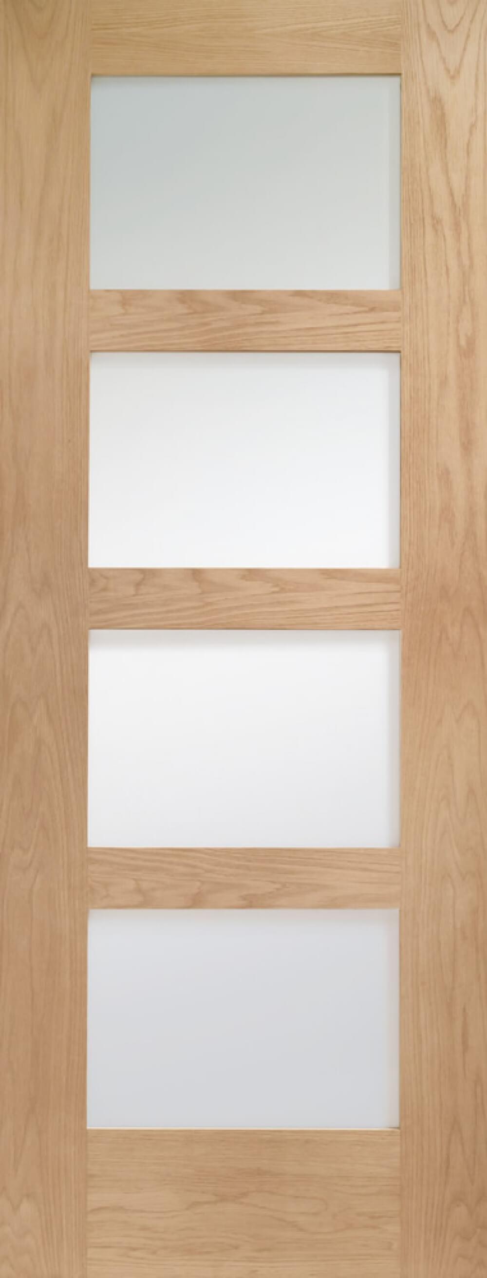 Shaker 4 Light Oak Glazed Door - Obscure