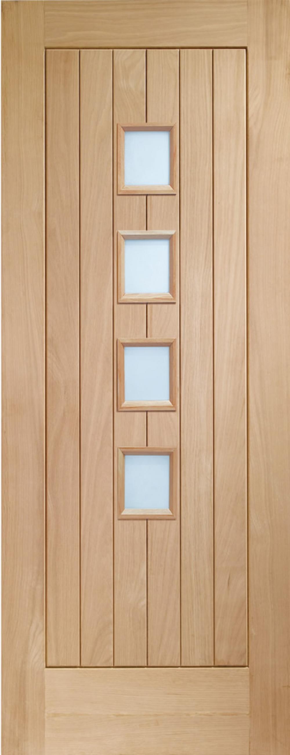 Suffolk Oak 4 Light Glazed Door - Obscure