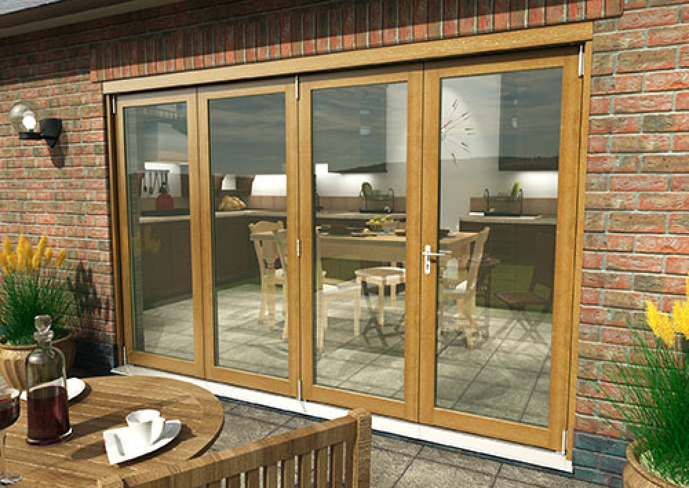 Supreme Solid Oak Bifolding Patio Doors - CLIMADOOR: 54mm Fully Finished Doorset Image