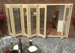 4200mm ( 14ft ) 5 + 1 Tradesman Bifold Doors: External 44mm Un-Finished Treated Clear Pine Folding Door Image