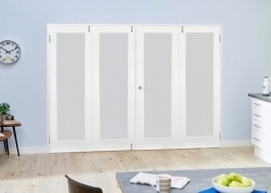 Frosted Glazed White Primed Shaker 4 Door Frenchfold 2400mm set: Frosted White Glazed Room Divider Door Image