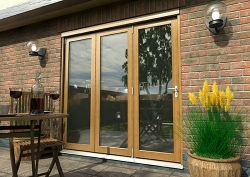 CLIMADOOR Solid Oak Bifold Door 2100mm (7ft) : 54mm Fully Finished Doorset Image
