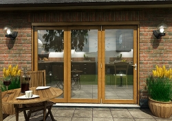 CLIMADOOR Solid Oak Bifold Door 2700mm (9ft) : 54mm Fully Finished Doorset Image