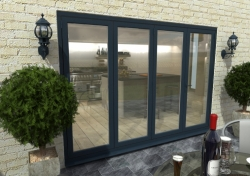3000mm ( 3 + 1 ) Grey Aluminium Bifold Doors - CLIMADOOR: 70mm Thermally Broken, Double Glazed Door Set Image
