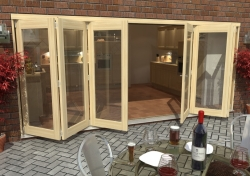 4800mm ( 16ft ) 3 + 3 Tradesman Bifold Doors: External 44mm Un-Finished Treated Clear Pine Folding Door Image