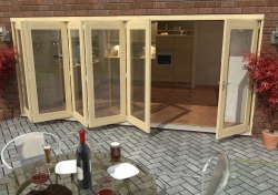 4800mm ( 16ft ) 5 + 1 Tradesman Bifold Doors: External 44mm Un-Finished Treated Clear Pine Folding Door Image