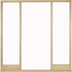 Universal Oak Vestibule Frame for Direct glazing: Universal External Door frame set with bottom rails and beading to suit any opening size. Image
