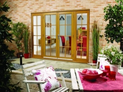 2400mm (8ft) Fully Finished Oak 8 Lite - 1500 Pair + 2 X 450mm Sidelights : 44mm Fully Finished Doorsets Image