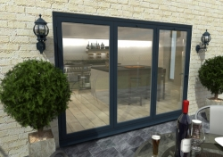 3000mm ( 3 + 0 ) Grey Aluminium Bifold Doors - CLIMADOOR: 70mm Thermally Broken, Double Glazed Door Set Image