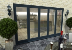 3600mm ( 5 + 0 ) Grey Aluminium Bifold Doors - CLIMADOOR: 70mm Thermally Broken, Double Glazed Door Set Image