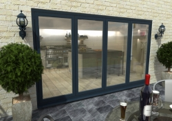 3600mm ( 3 + 1 ) Grey Aluminium Bifold Doors - CLIMADOOR: 70mm Thermally Broken, Double Glazed Door Set Image