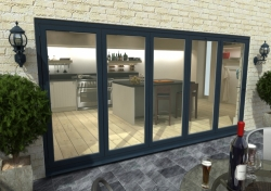4800mm ( 5 + 0 ) Grey Aluminium Bifold Doors - CLIMADOOR: 70mm Thermally Broken, Double Glazed Door Set Image