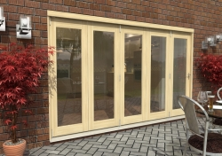 3600mm ( 12ft ) Tradesman Bifold Doors: External 44mm Un-Finished Treated Clear Pine Folding Door Image