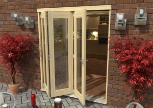 2100mm ( 7ft ) Tradesman Bifold Doors: External 44mm Un-Finished Treated Clear Pine Folding Door Image