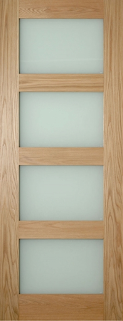 Coventry Shaker Glazed Oak Door - Frosted Image