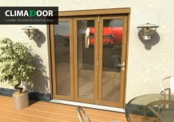 Elite Oak Bifold Doors 1800mm (6 Ft): 54mm fully finished folding sliding doorset Image