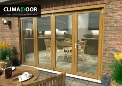 Elite Oak Bifold Doors 3000mm (10 Ft) : 54mm fully finished folding sliding doorset Image